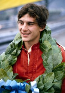 Ayrton Senna with his winner's garland, British Formula Ford 2000 Championship, Oulton Park, March 27, 1982