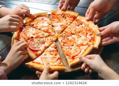 hands-taking-pizza-slices-wooden-260nw-1242314626